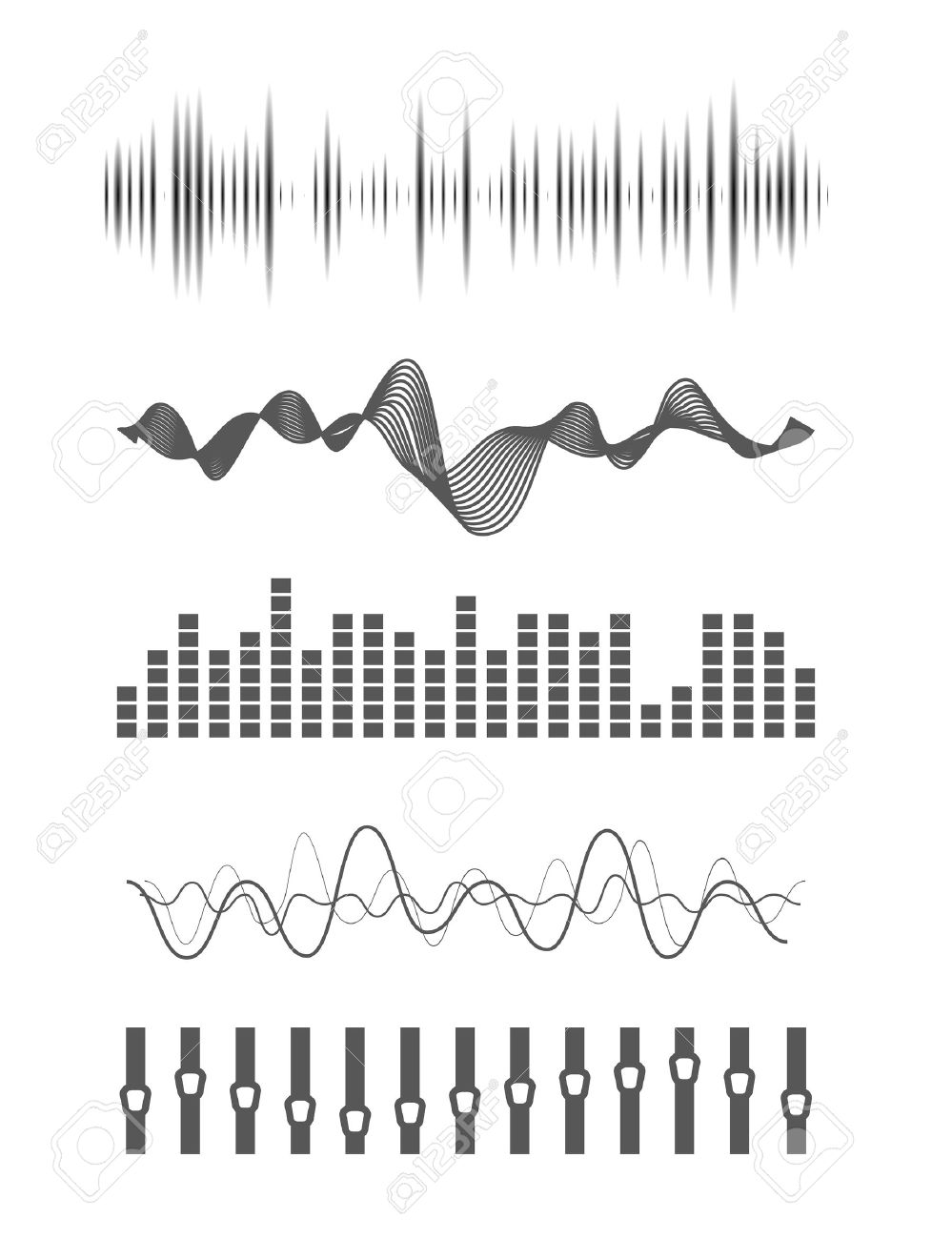 Vector music sound waves set. Audio digital equalizer technology, console panel, pulse musical. - 46084994