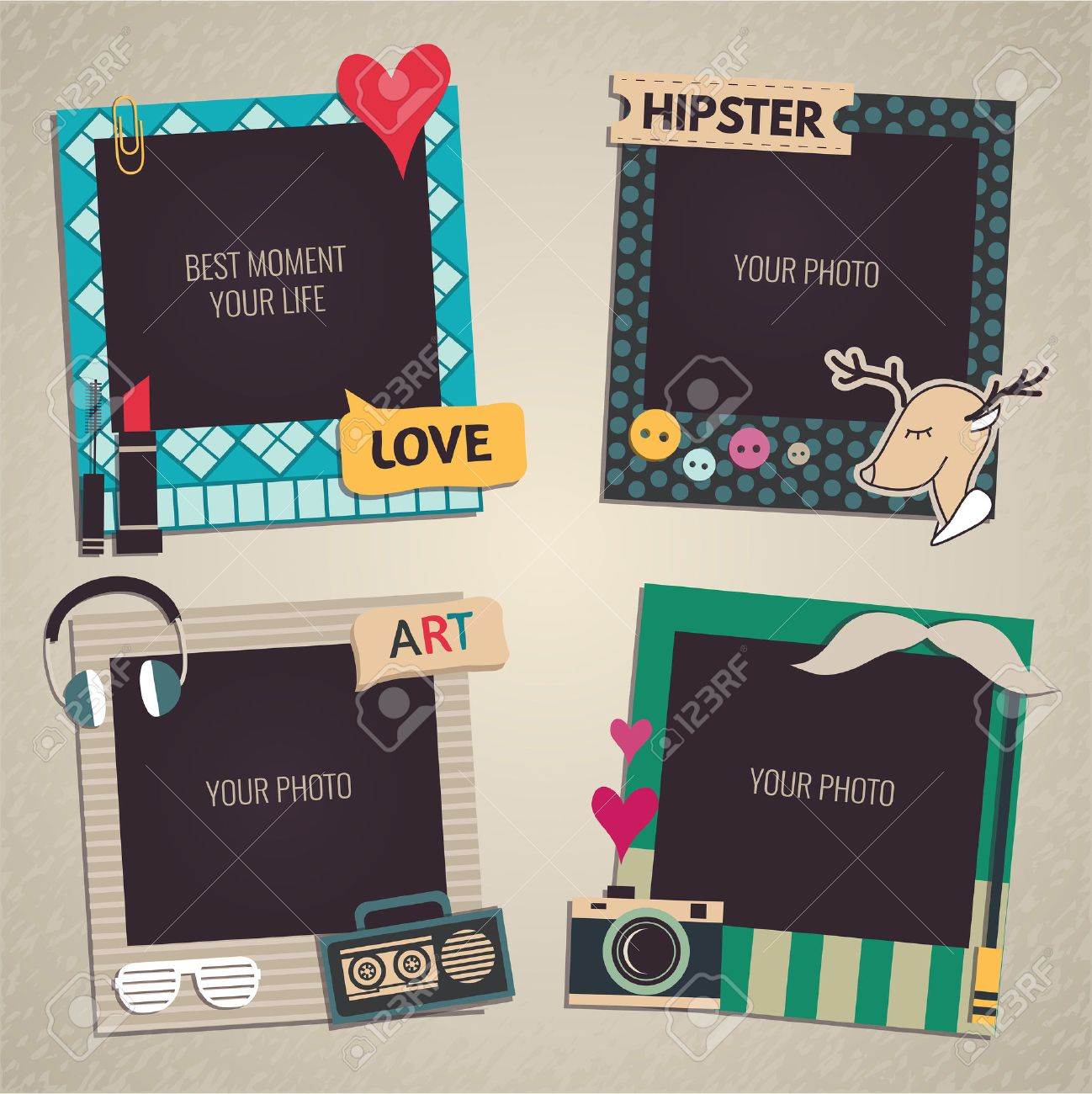 decorative template frame design for baby photo and memories scrapbook concept vector illustration stock
