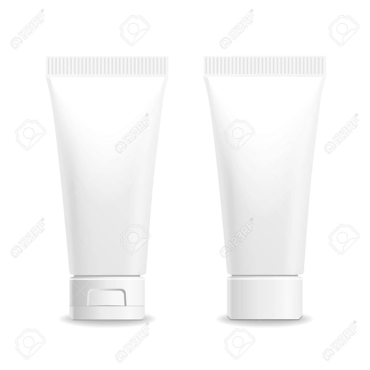 Make up. Tube of cream or gel white plastic product. Container, product and packaging. White background. - 46085015