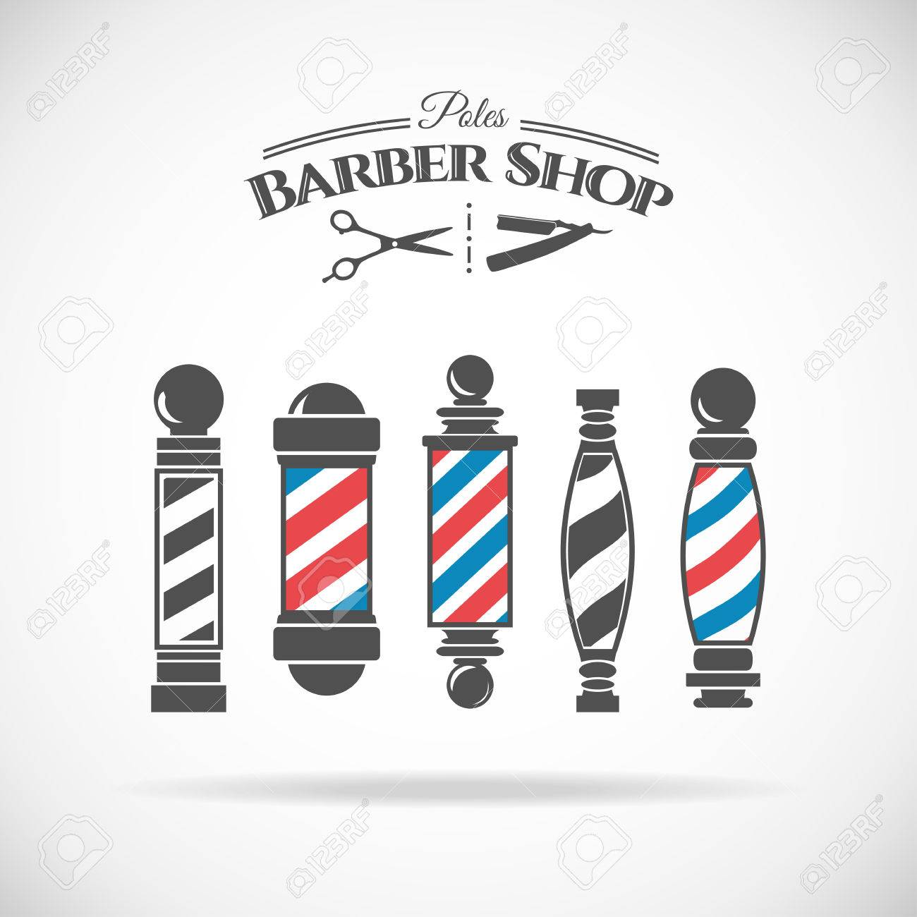 Vector illustration barber shop vintage pole collection isolated on white background. - 46957252