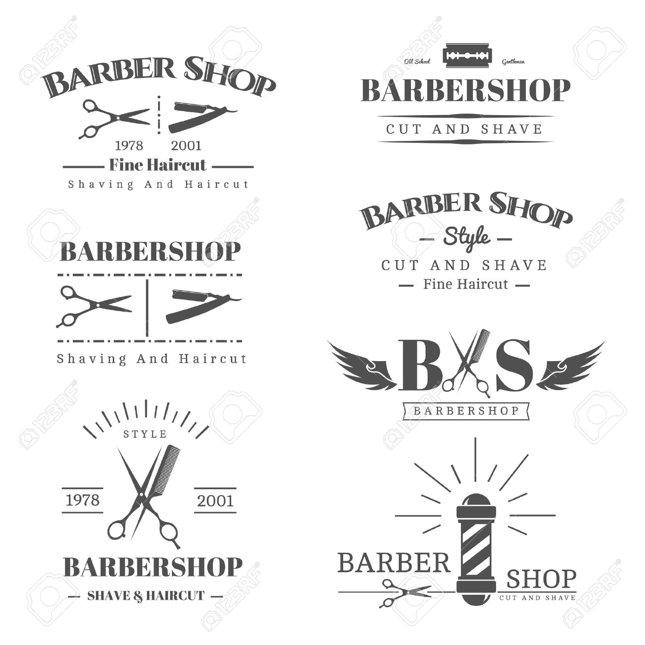 Vector set of retro barber shop labels, logo, badges and design element - 46957432
