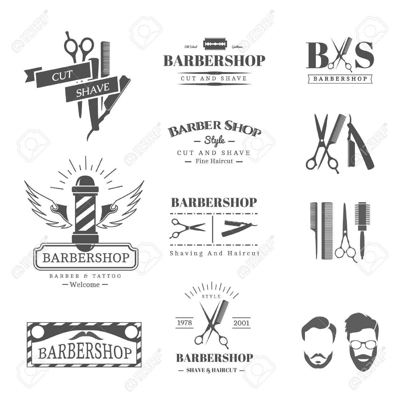 Vector set of retro barber shop labels, logo, badges and design element - 46957436