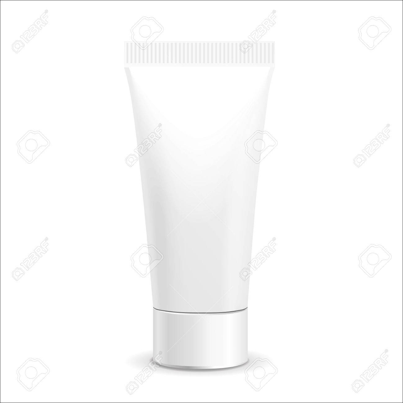 Make up. Tube of cream or gel white plastic product. Container, product and packaging. White background. - 46972884
