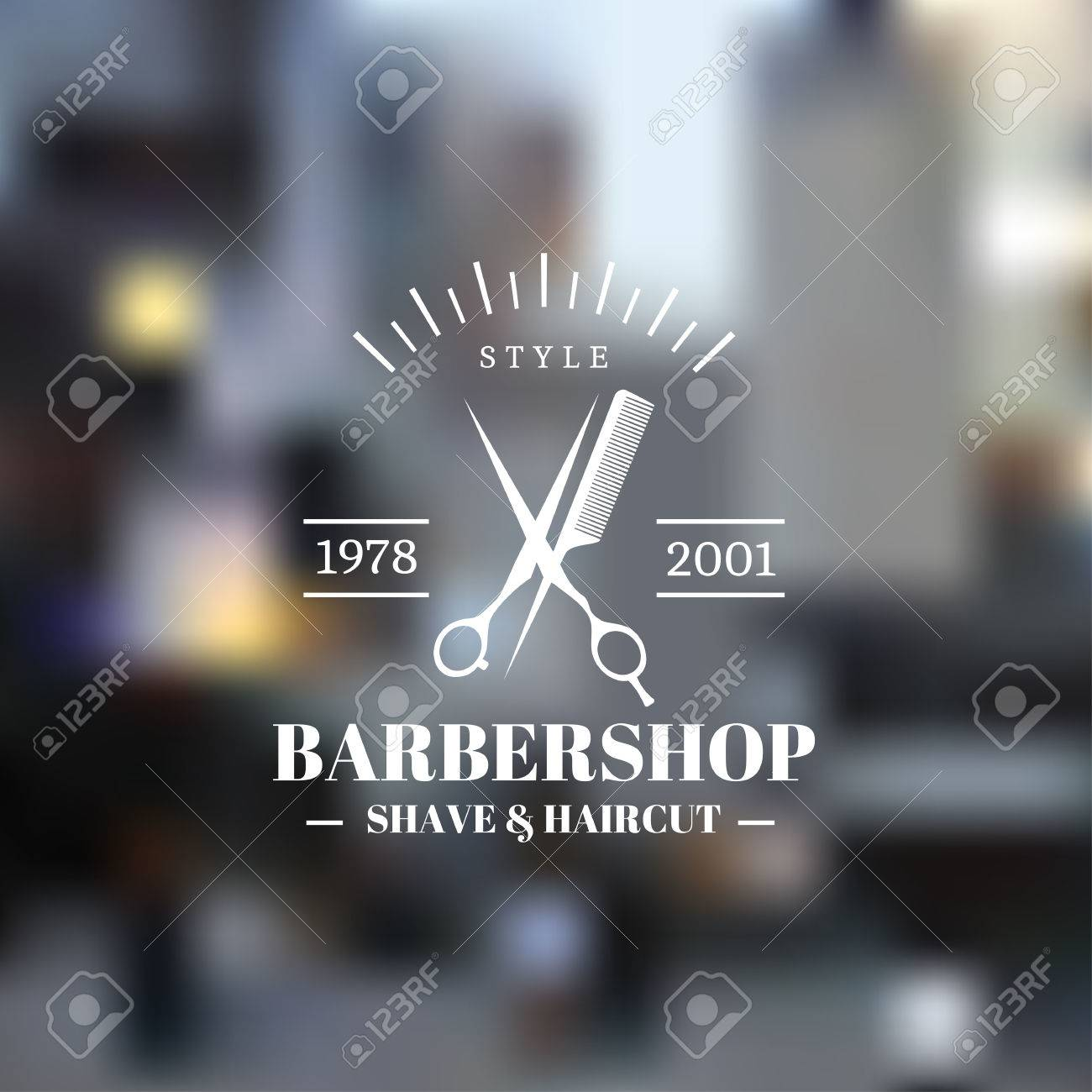 Barber shop icon emblem label or logo on blurred background - 48521024