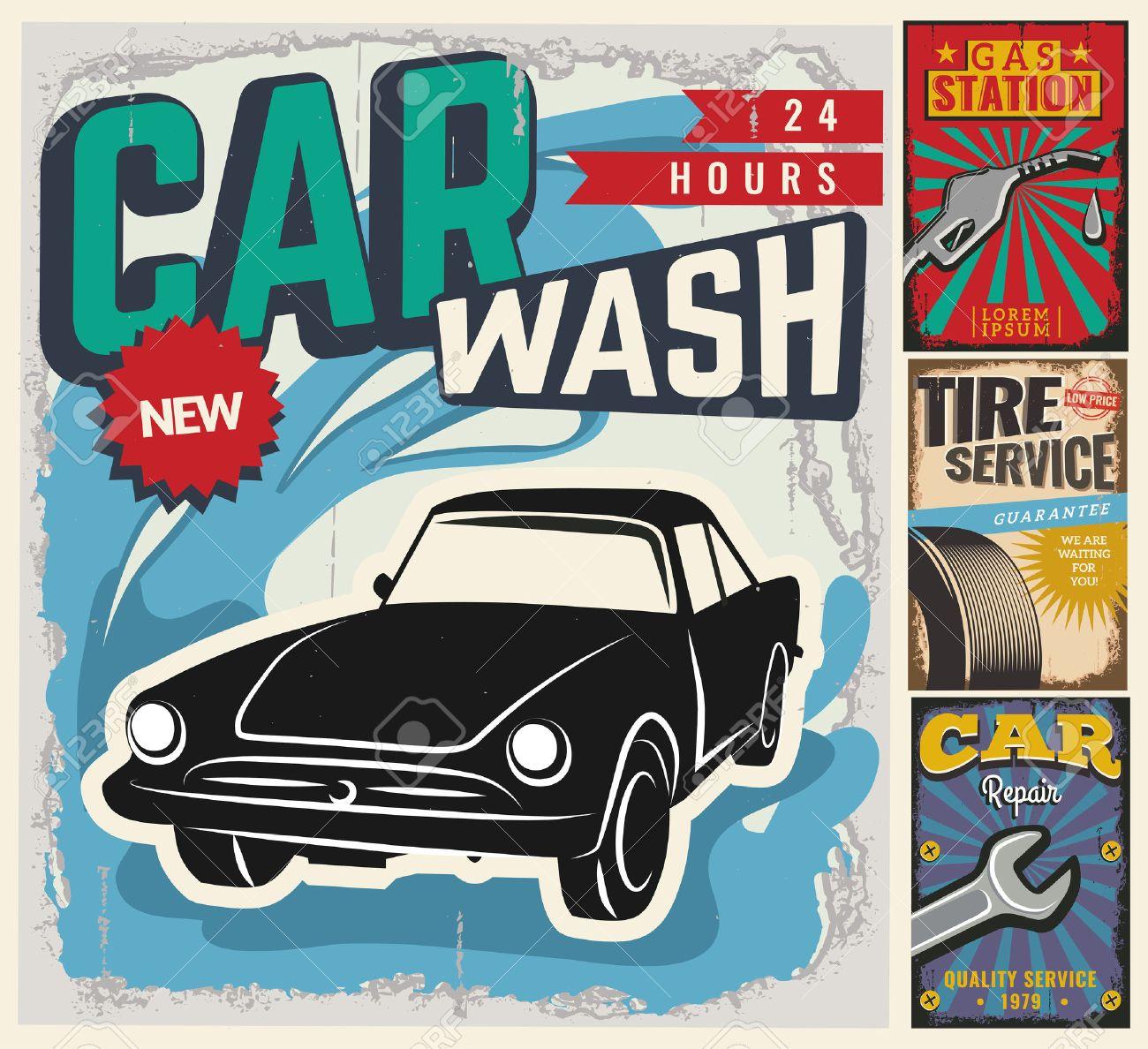Vintage Retro Style Set Of Vector Cars Flyer Template Garage – Car Sale Flyer