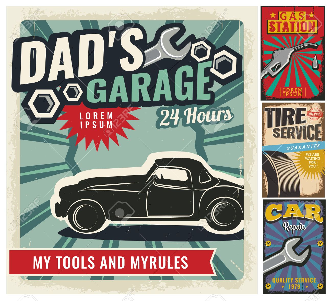 Vintage Retro Style. Set Of Vector Cars Flyer Template. Garage ...