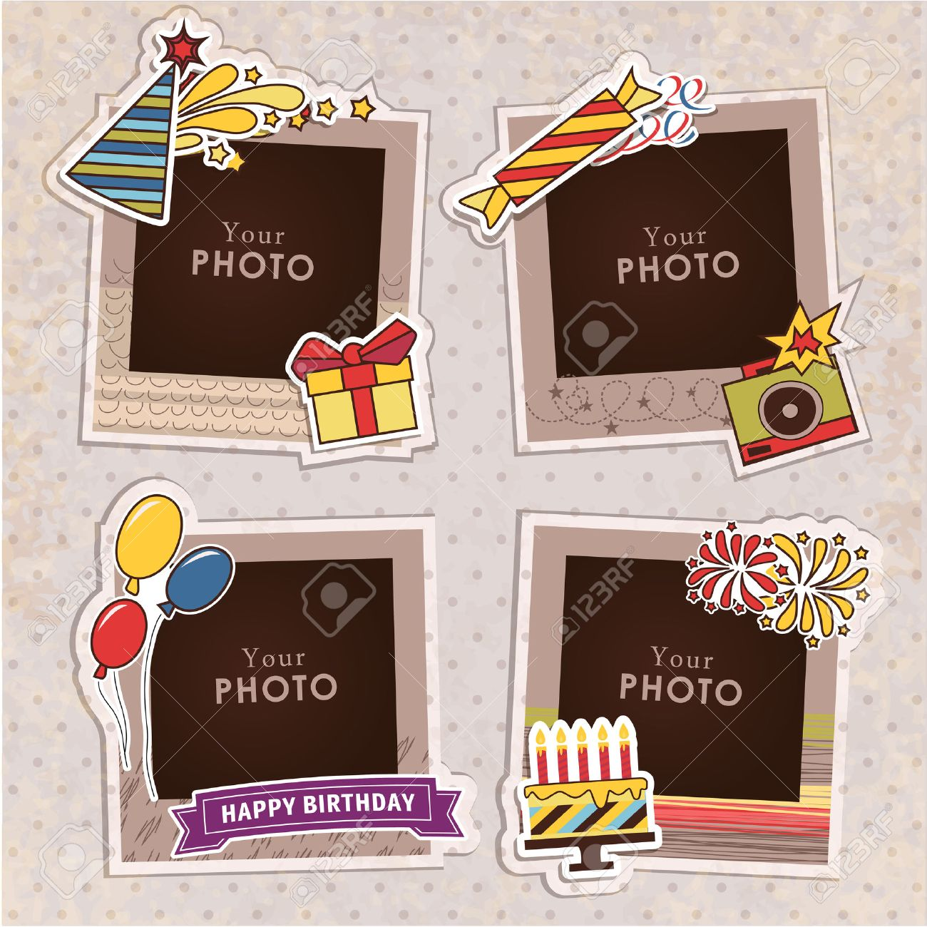 Design photo frames on nice background. Decorative template for baby, family or memories. Scrapbook concept, vector illustration. Birthday - 49174033