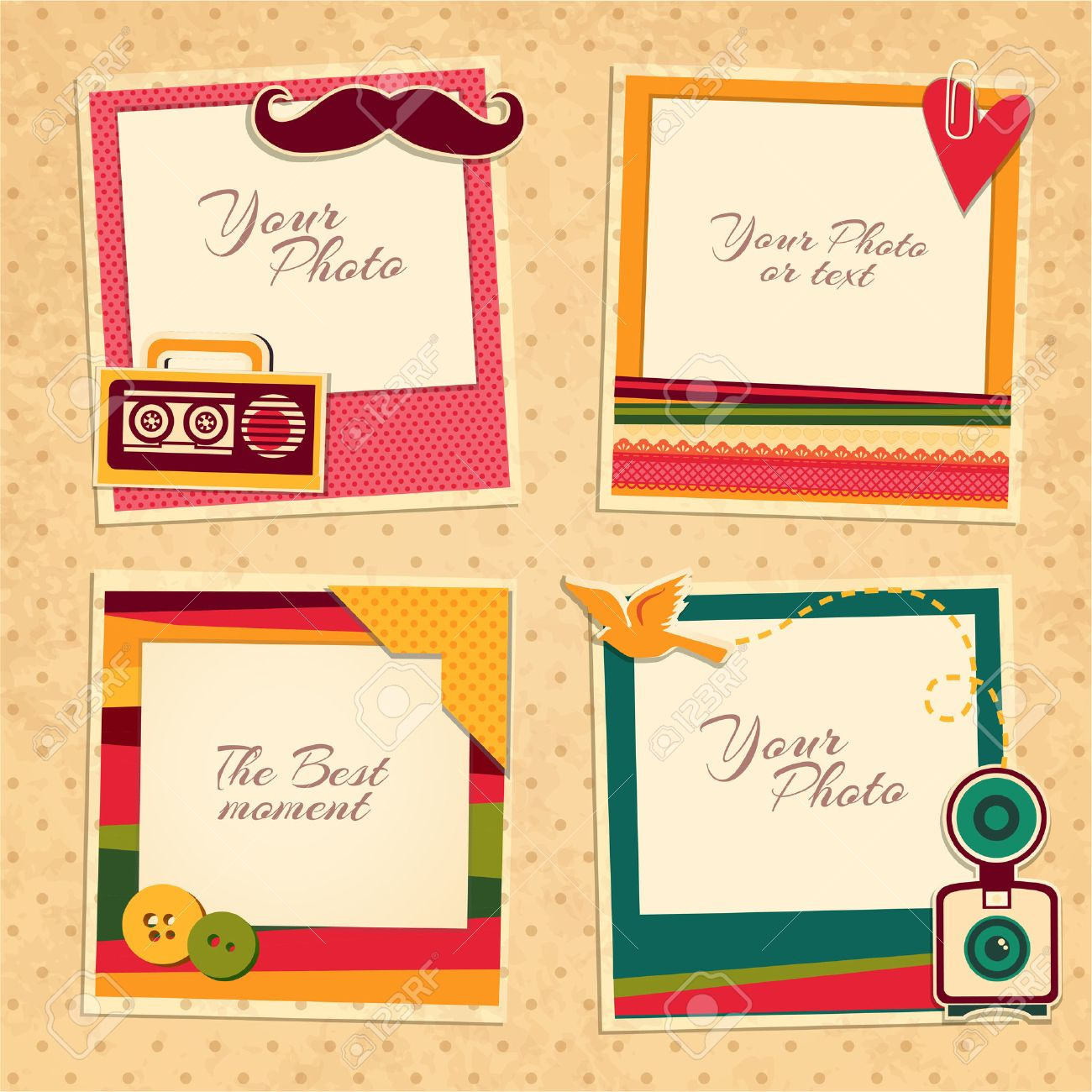 Design photo frames on nice background. Decorative template for baby, family or memories. Scrapbook concept, vector illustration. Birthday - 49174089