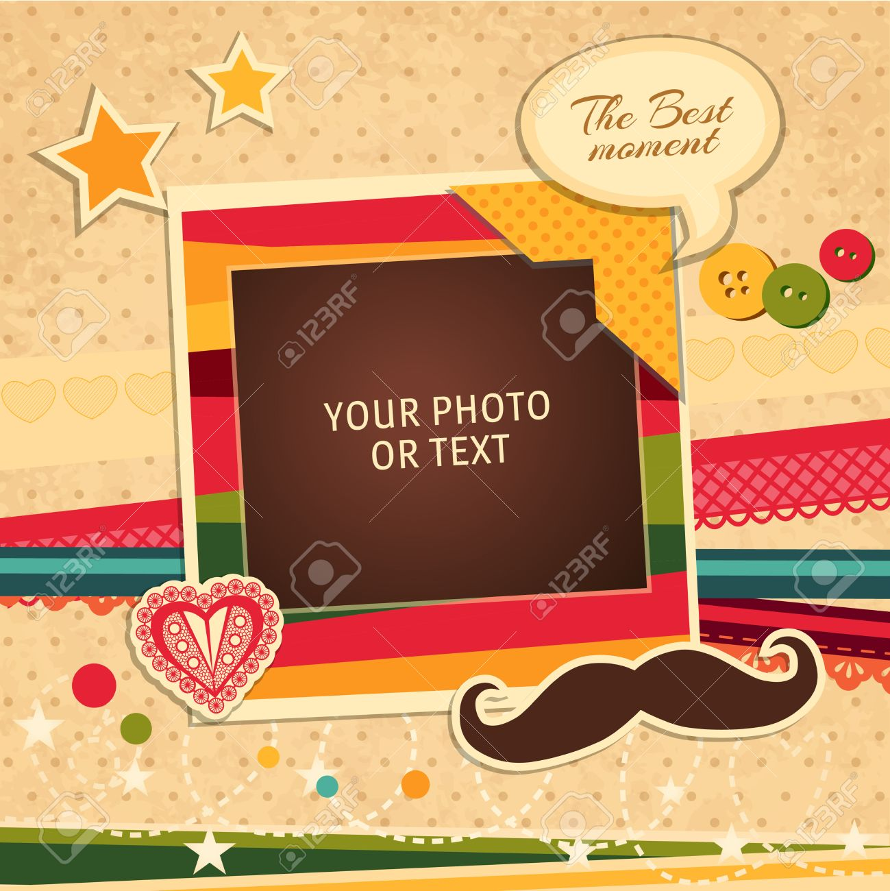 Design photo frames on nice background. Decorative template for baby, family or memories. Scrapbook concept, vector illustration. Birthday - 49174100