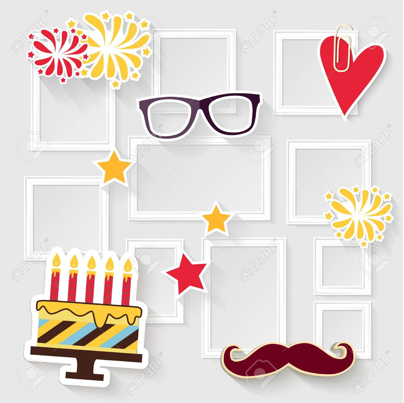 Realistic design photo frames on white background. Decorative template for baby, family or memories. Scrapbook concept, vector illustration. Birthday - 49174098