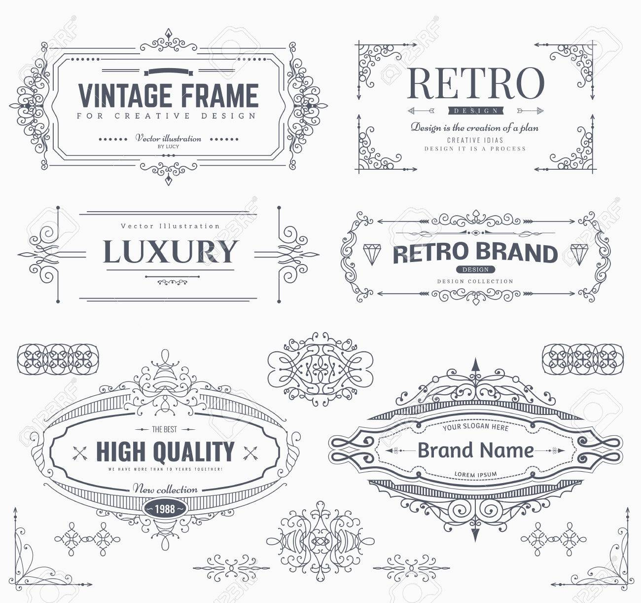 collection of vintage patterns flourishes calligraphic ornaments