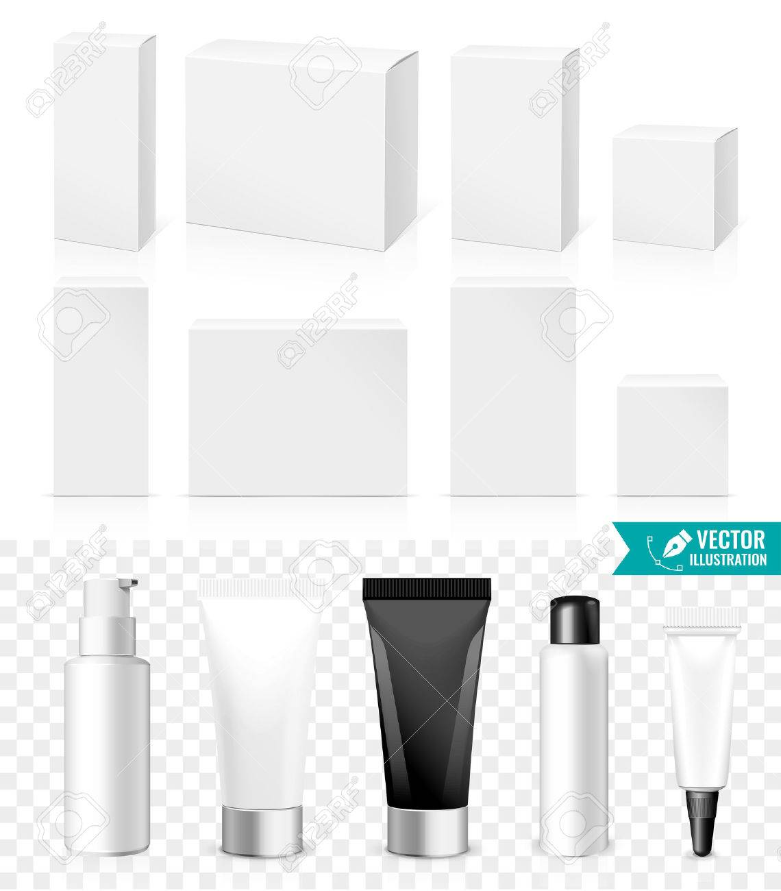 Realistic Tubes And Boxes. Packing White Cosmetics Or Medicines products Isolated On White Background. You Can Use It For Tube Of Creams, Shampoo, Gel, Ointments Or Any Other Product for you design - 50264536