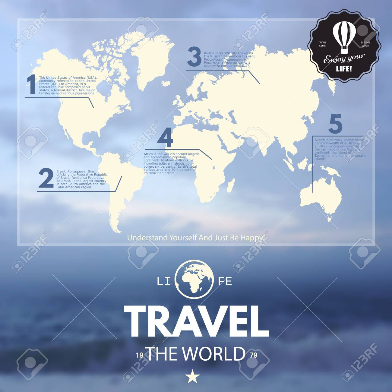 World Map And Information Graphics On Blur Realistic Background