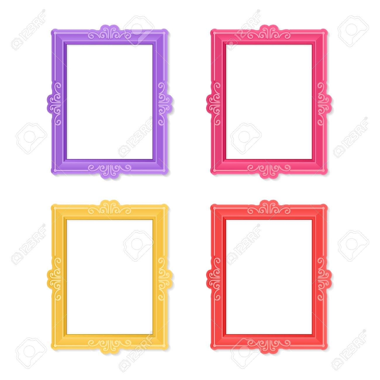 realistic design photo frames on white background decorative template for baby family or memories