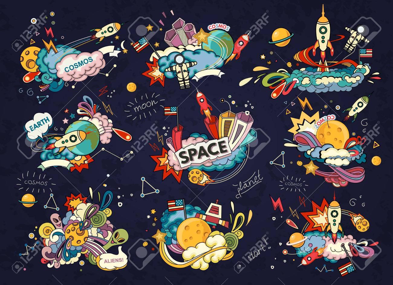 Cartoon illustration of space. Moon, planet, rocket, earth, cosmonaut, comet, universe. Classification, milky way. Abstract - 53171173