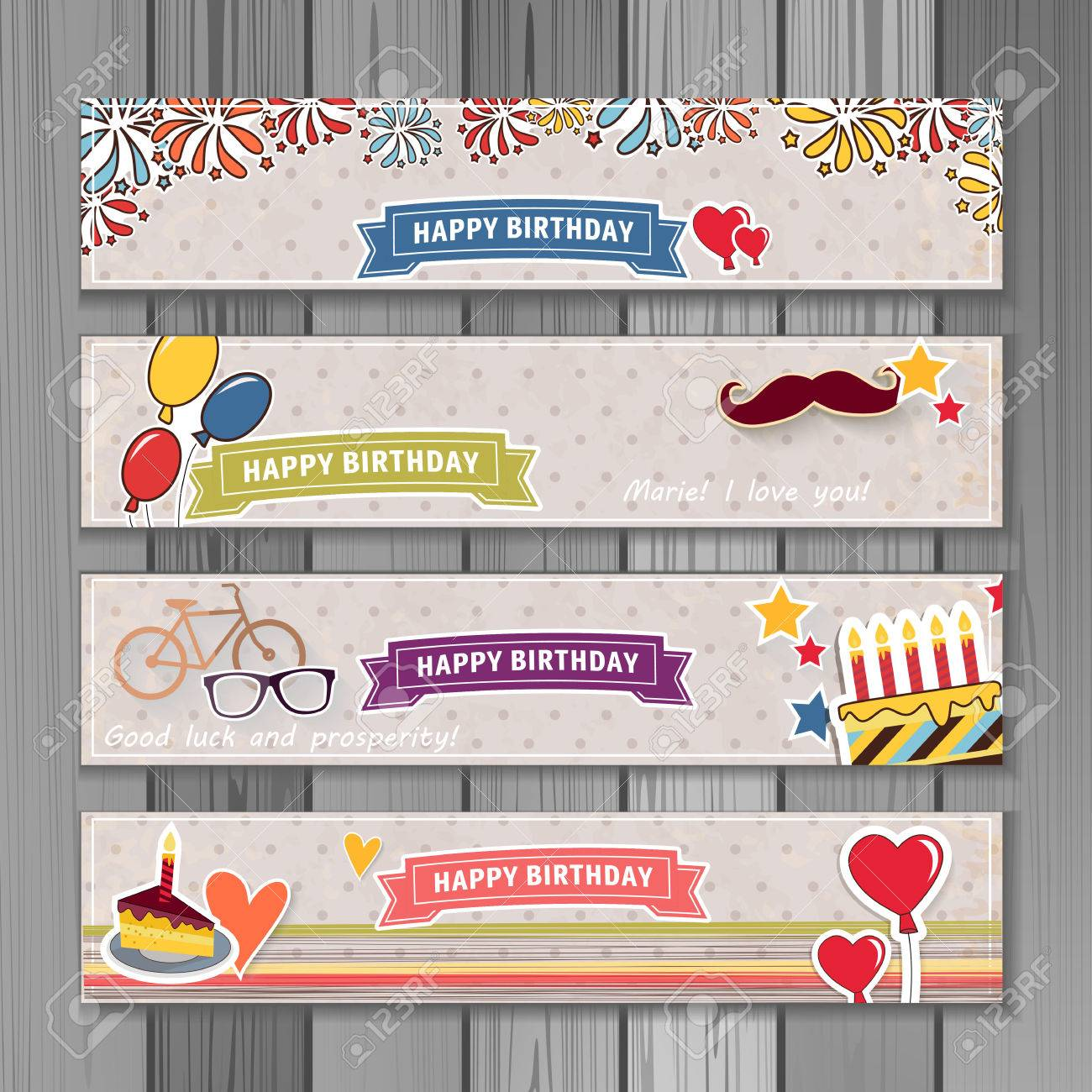 Banner happy birthday illustration. You can use it for events, invitation, banner, brochure, brochures. Illustration composed of cake, balloons, ribbons, fireworks, heart. Cartoon style - 53171178