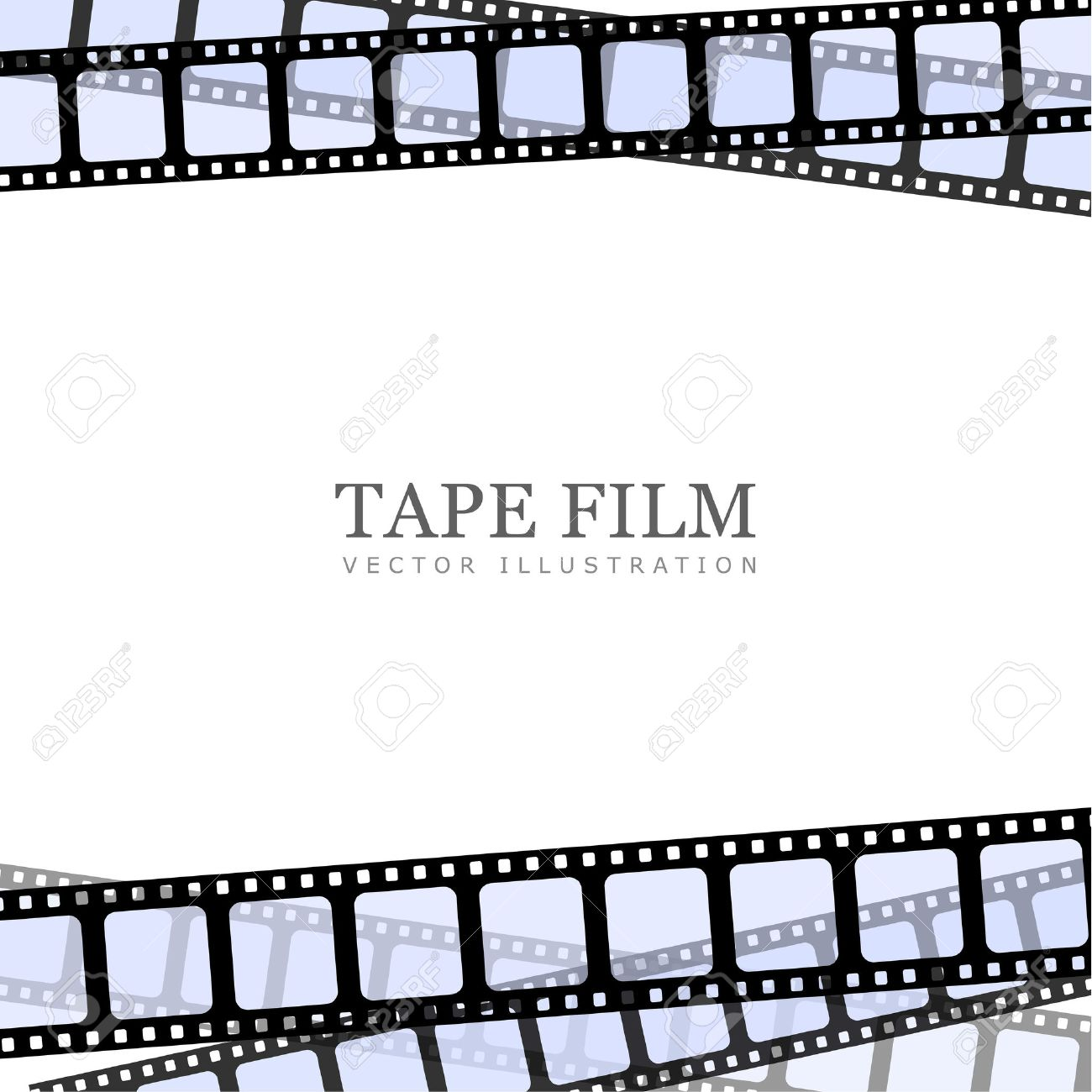 realistic illustration of film strip on white background. Template film roll - 53171270
