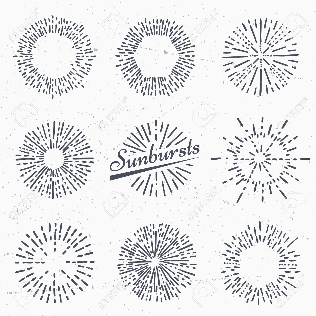 Set Of Vintage Sunburst. Hand Drawn. Light Ray. Design Template ... for Vector Light Rays Vintage  83fiz