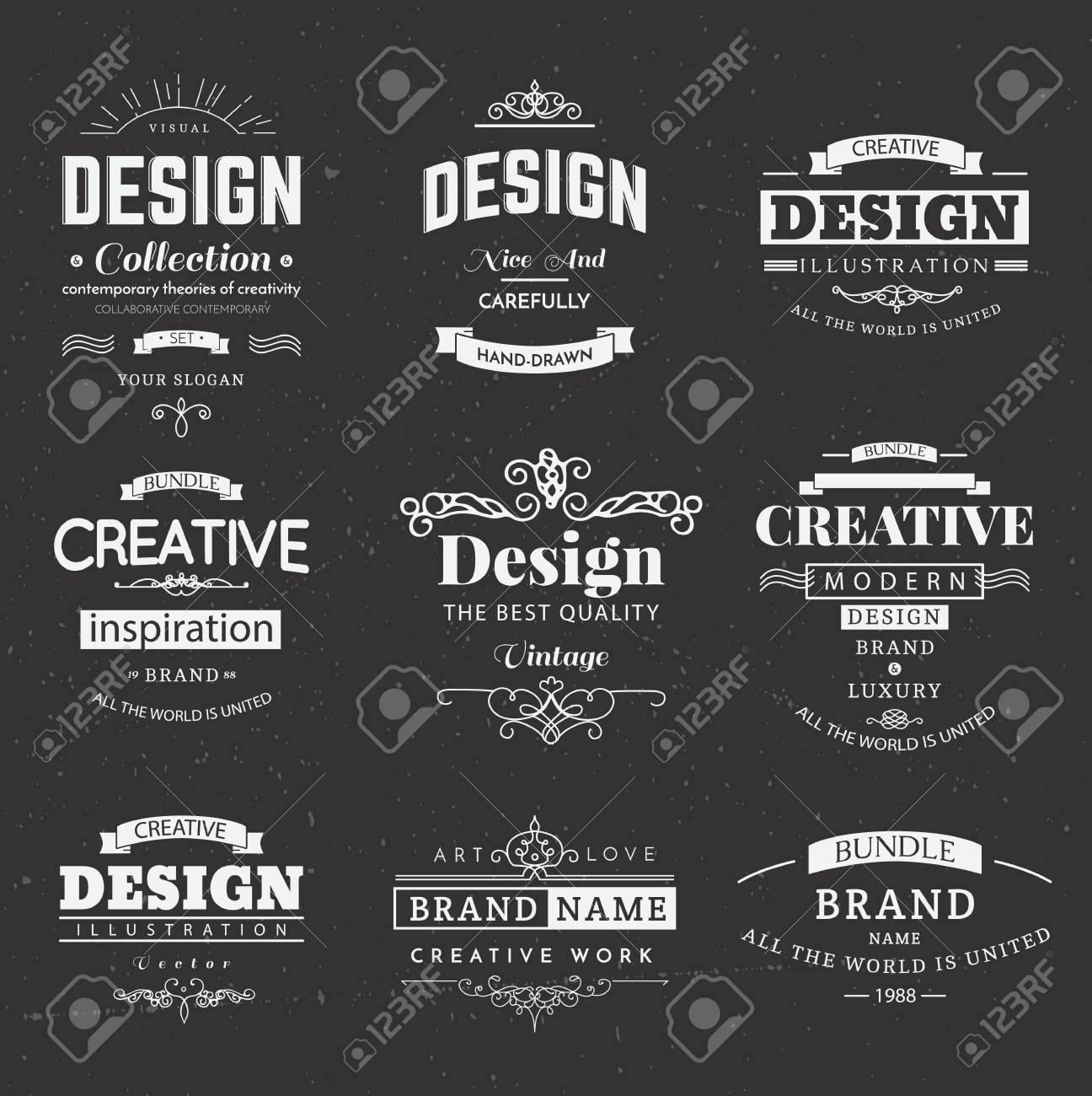 retro creative vintage labels template and logo set vector design elements business signs branding