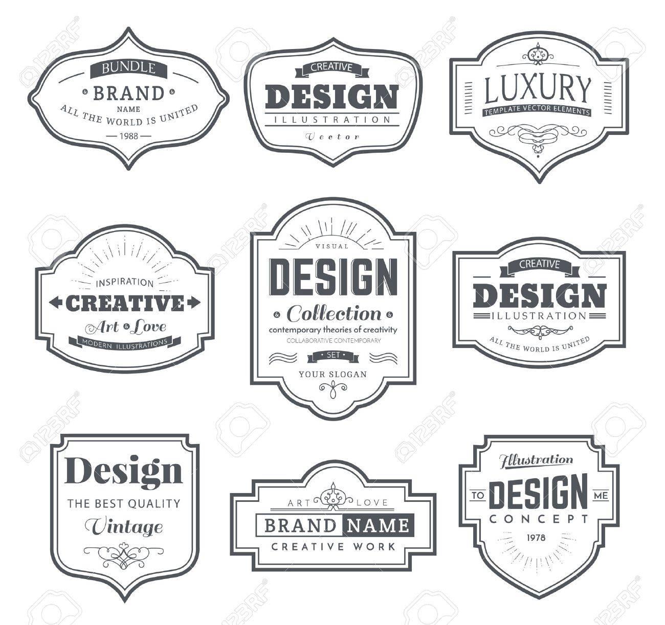 Frame classic template. Vintage contour blank frames and labels. Vintage elements design for cafe, restaurant, boutique, hotel, shop, jewelry. Vector retro elements - 58325614