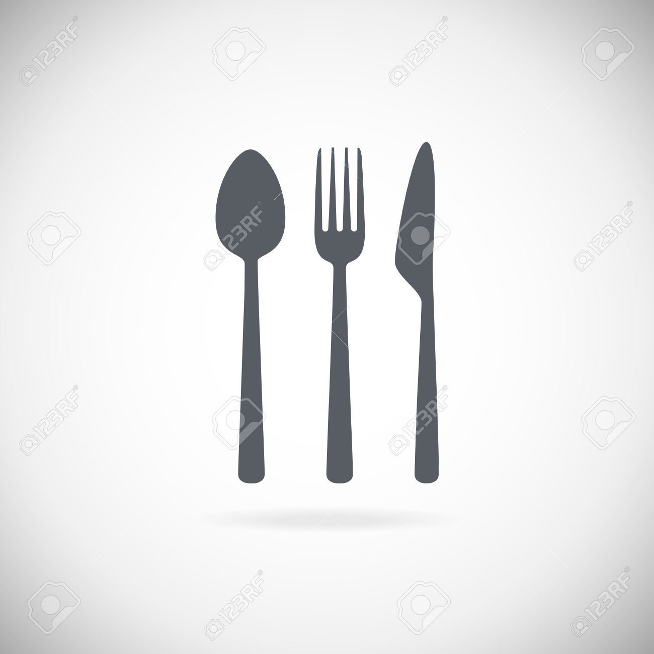 Set cutlery icon vector illustration. Black silhouette of fork, knife, spoon and plate. Table appointments. Menu - 58324321