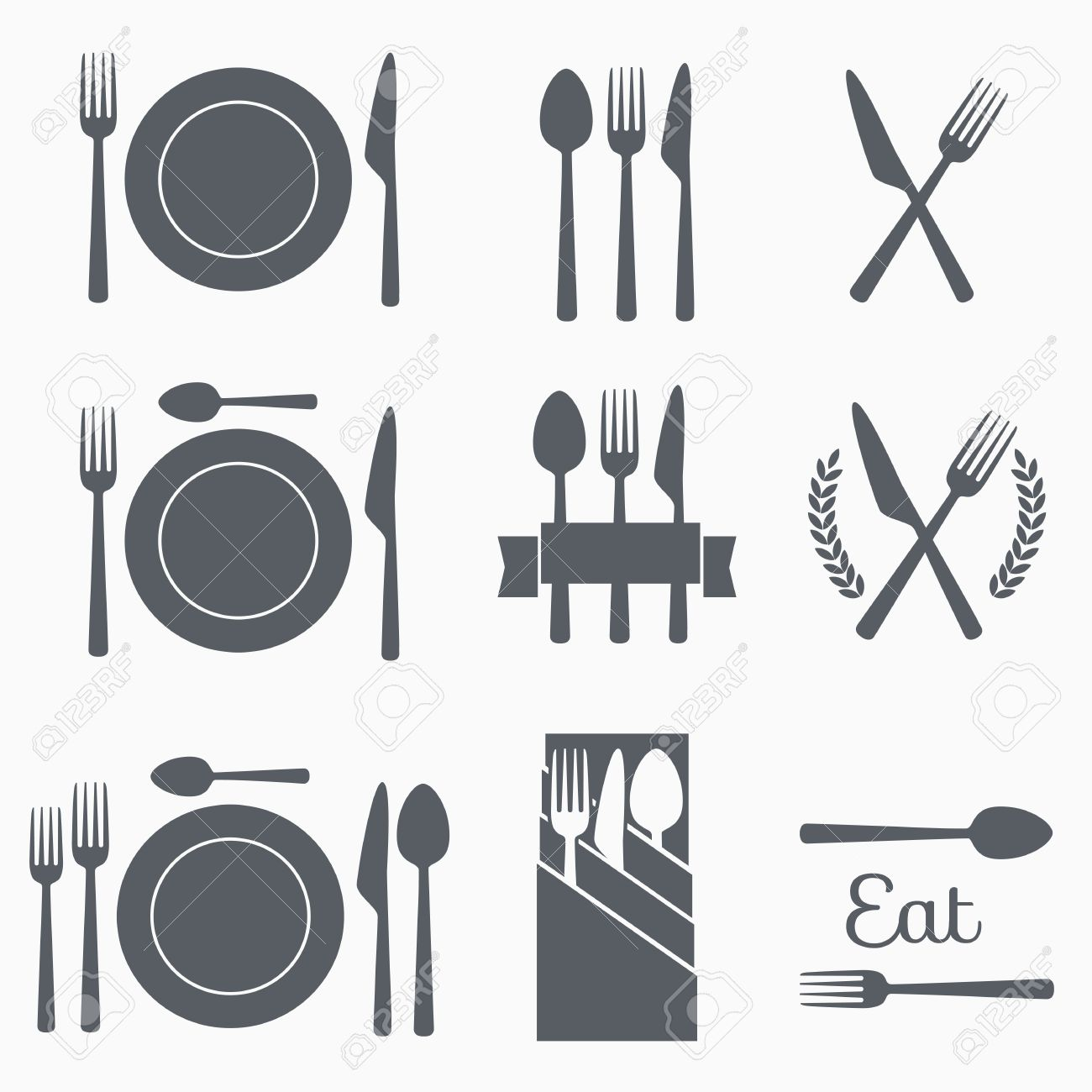 Set cutlery icon vector illustration. Black silhouette of fork, knife, spoon and plate. Table appointments. Menu - 58324323