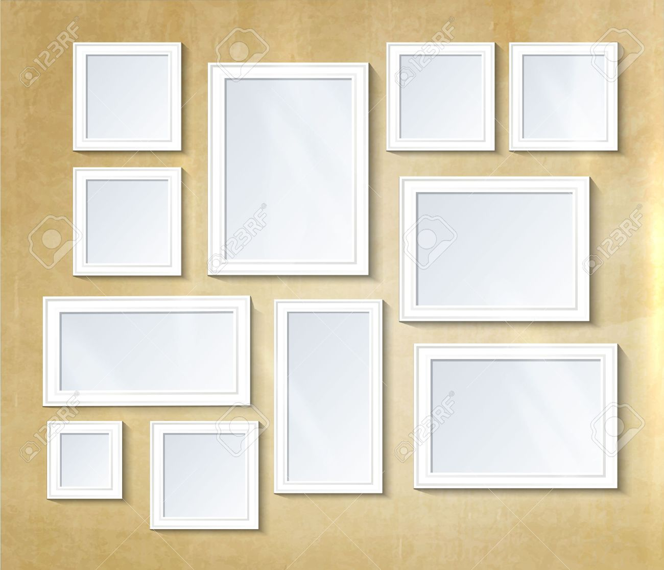 Decorative collage photo frame. Vintage photo frame template on wall for kid and parents. Design photo memories, scrapbook concept, vector illustration. Gallery - 58323761
