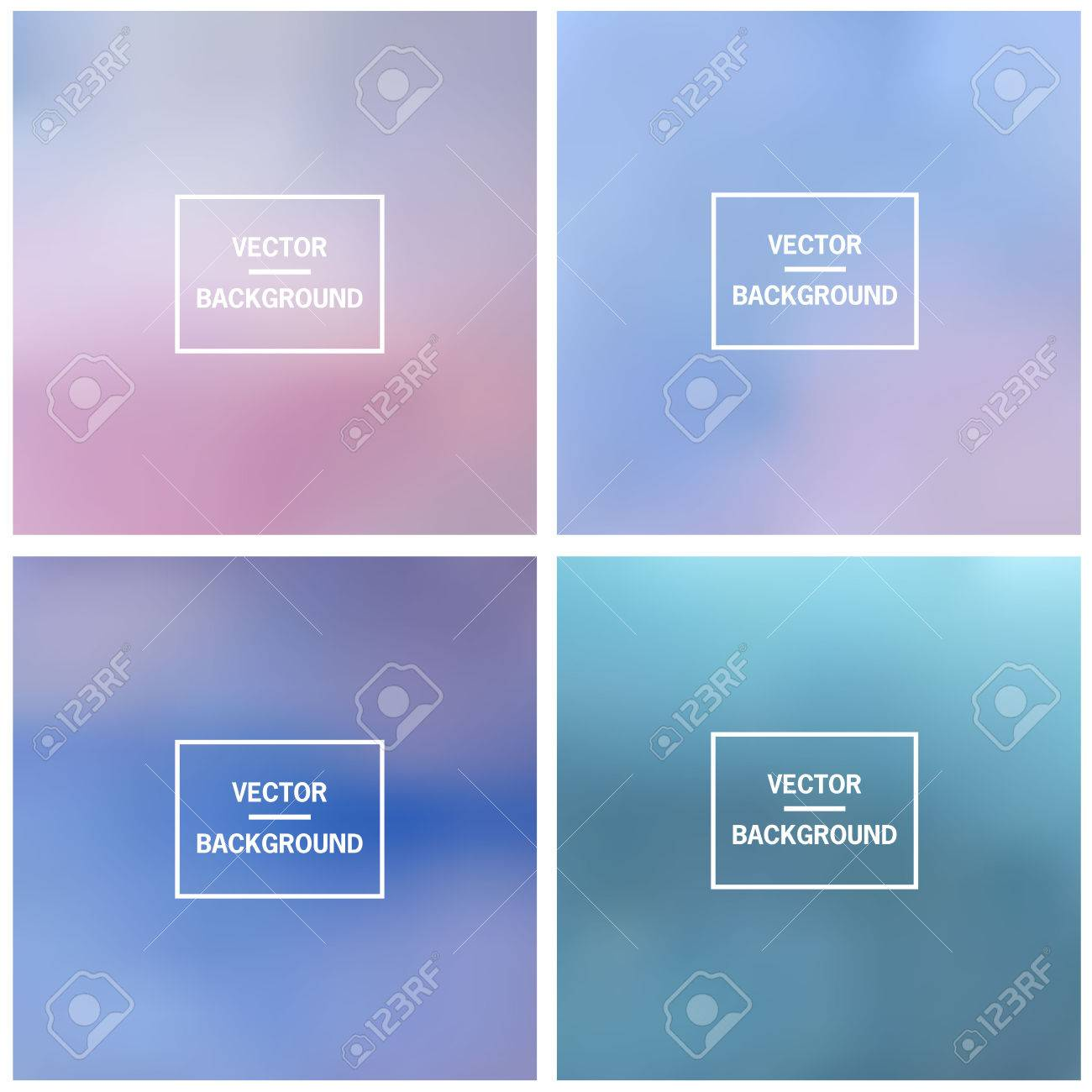 Abstract gradient set colorful blurred vector background. Vector blur background template. - 58314945
