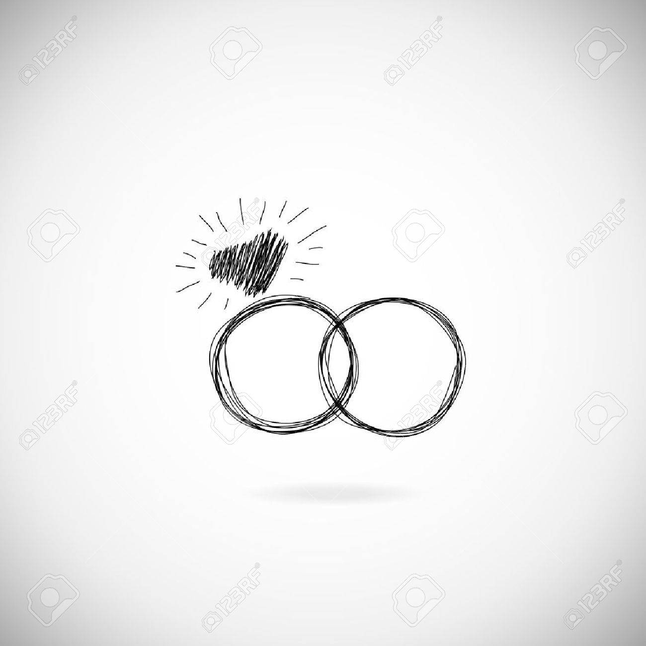 Wedding Silhouette Rings Icon Invitation Jewelry Hand Drawn Illustration Stock Vector: And Wedding White Rings Black Sulowett At Reisefeber.org