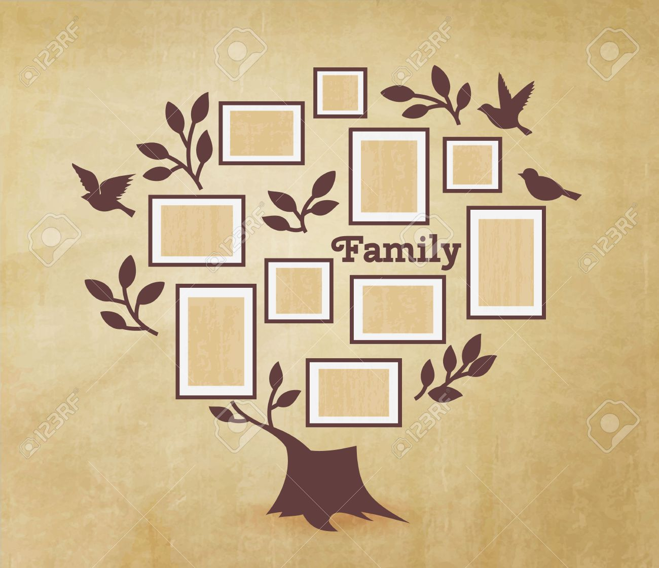 Memories Tree With Picture Frames. Insert Your Photo Into Template ...