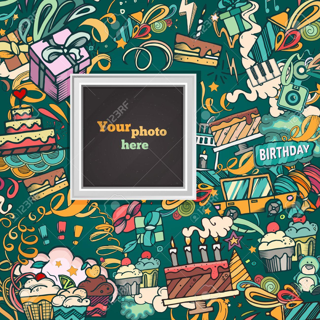 Fondo De Cumpleaños. Tarjeta Del Marco De La Foto Del Collage ...