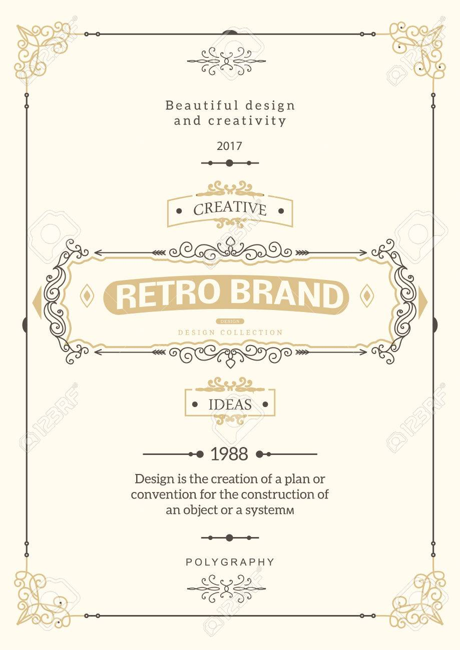 Monogram creative card template with flourishes ornament elements. Elegant design for cafe, restaurant, heraldic, jewelry, fashion. Hand drawn elements. curly and swirls vintage frame - 68101457