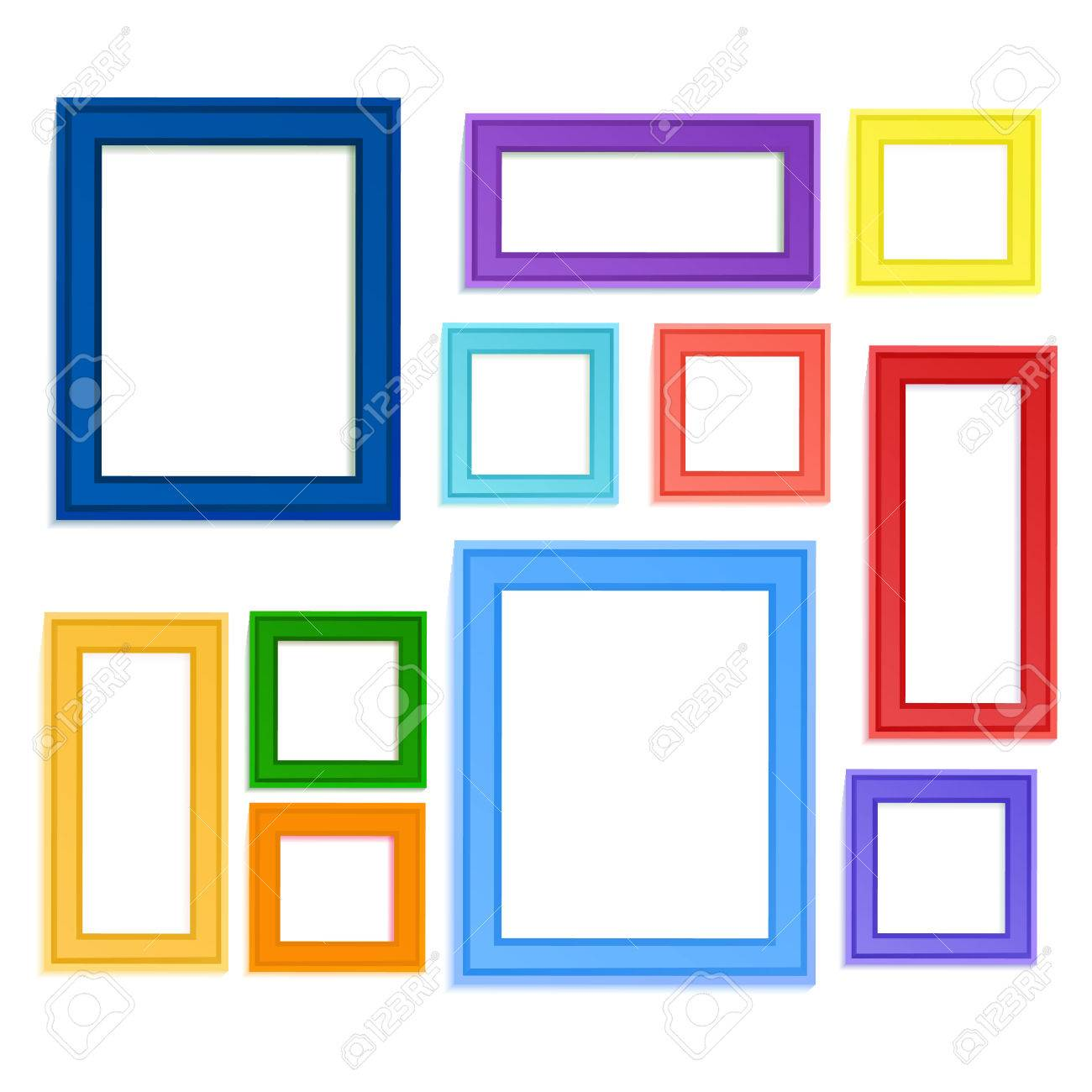 Multi colored photo frames for children picture composed in composition. - 70132719