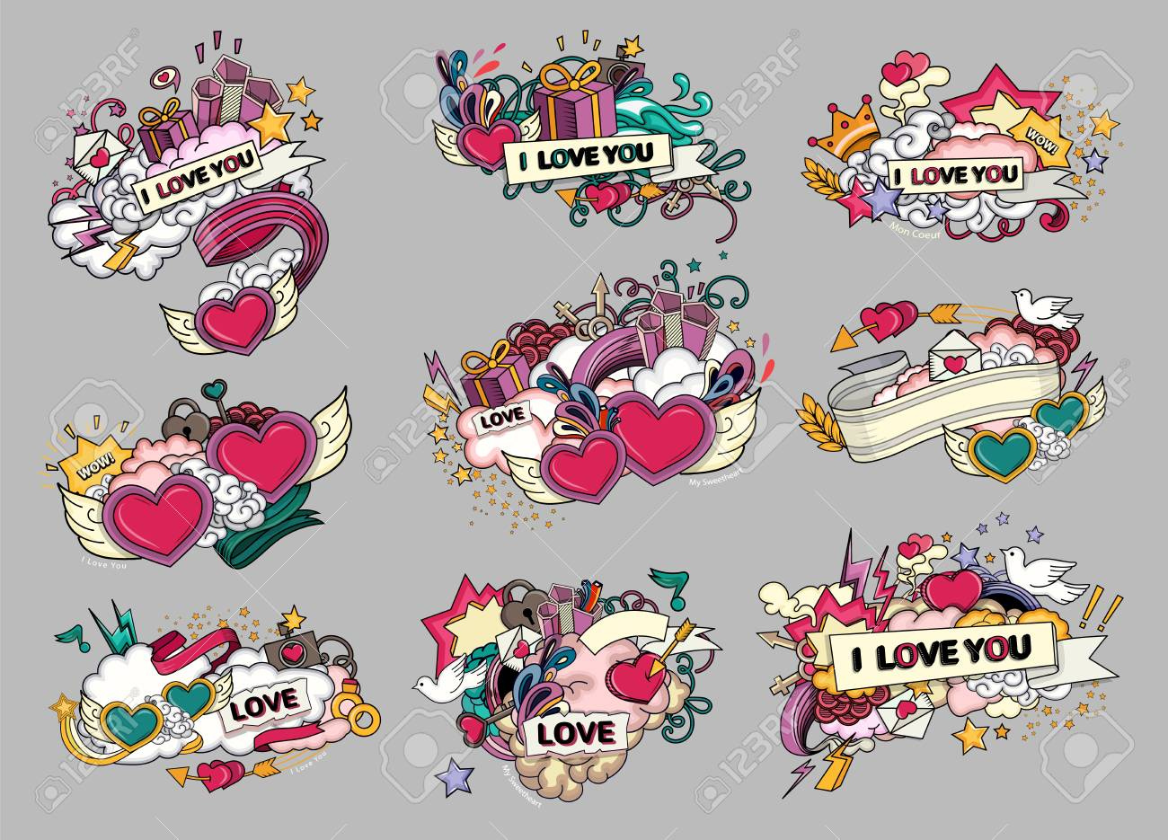 Set of love. Greeting cards for Valentine s Day, wedding, mother s day, birthday. Heart design abstract elements. - 73047489
