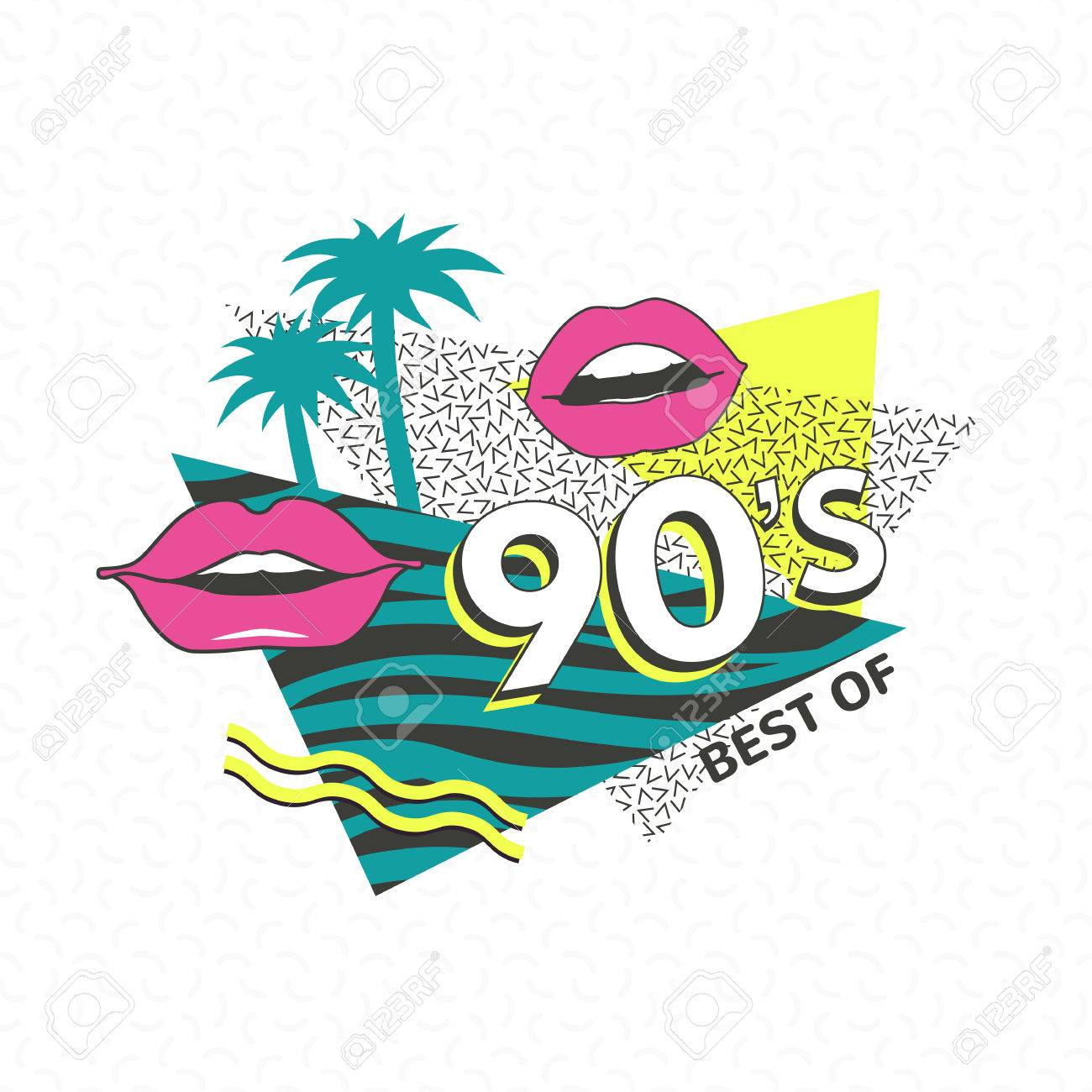 Template memphis poster or invitation for carnival with geometric ornaments elements. Back to the 90 s. Vector background in trendy 80s-90s . - 73047502