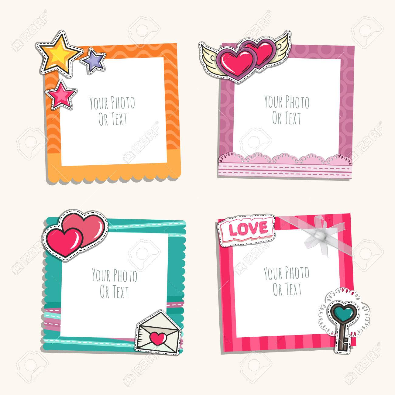 Photo Frame With Heart Love And Romantic Album Template For