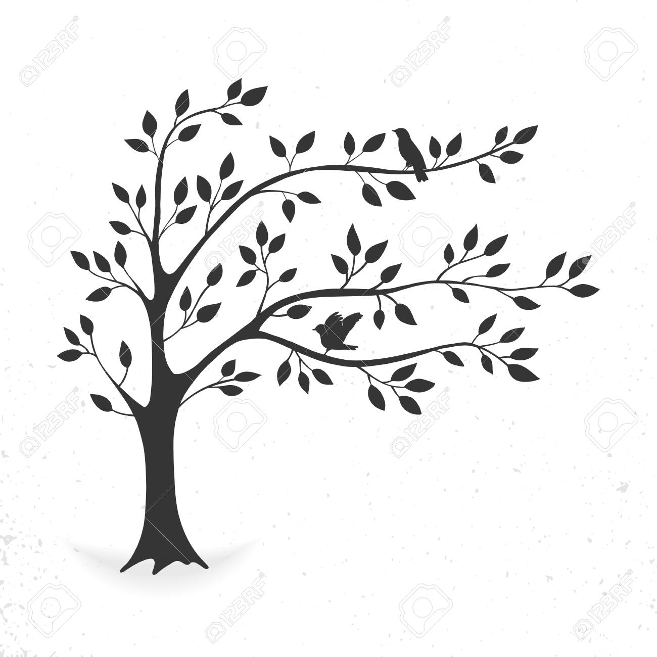 Tree with leaves and birds - 103011808