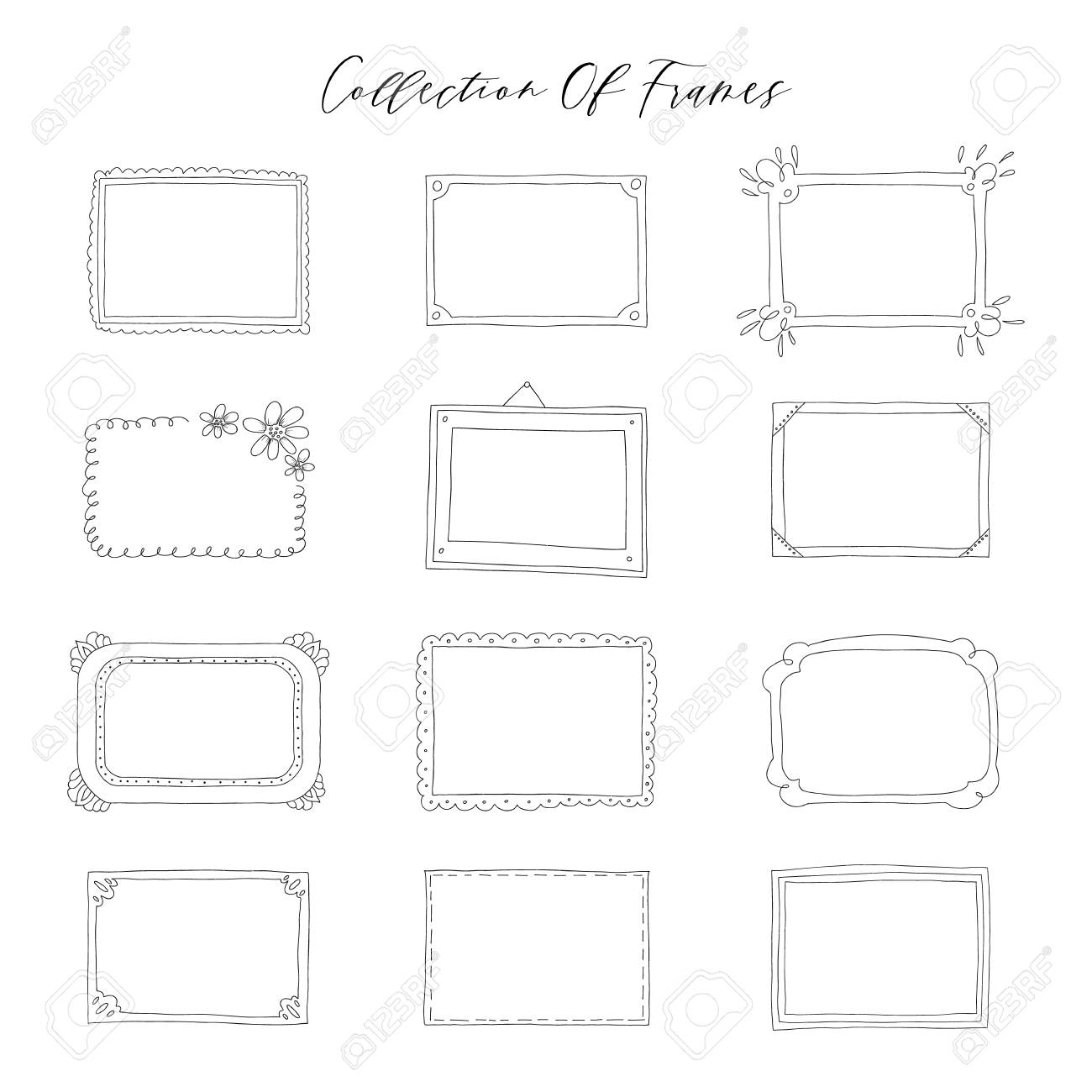 Decorative set template photo frames isolated on white background. Scrapbook concept. These photo frames you can use for kids picture or your love story. Vector illustration. - 128440392