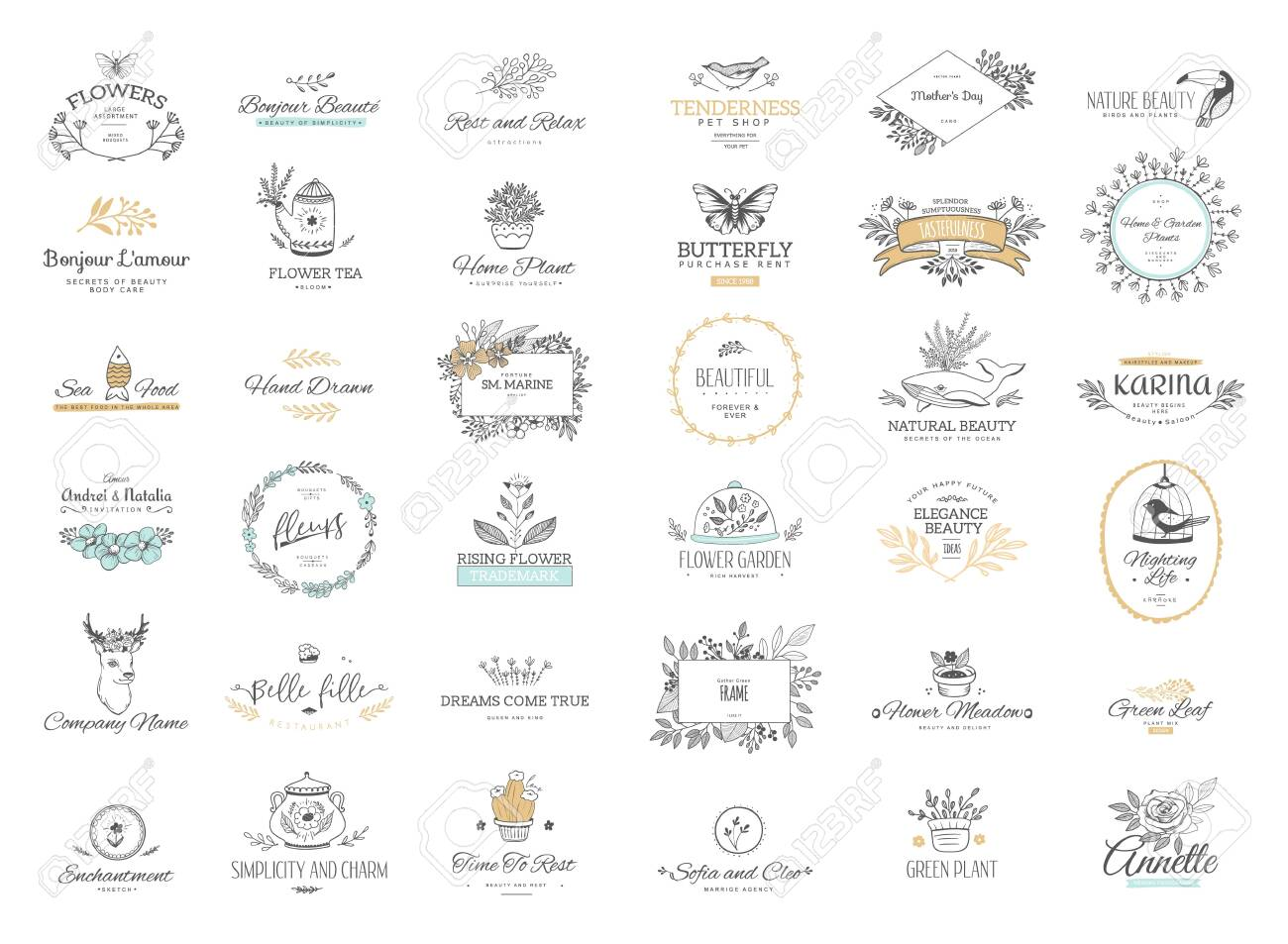Set of flourishes calligraphic ornaments and frames. Retro and modern style of design elements, signs and logos. Vector template. Collection patterns - 135500916