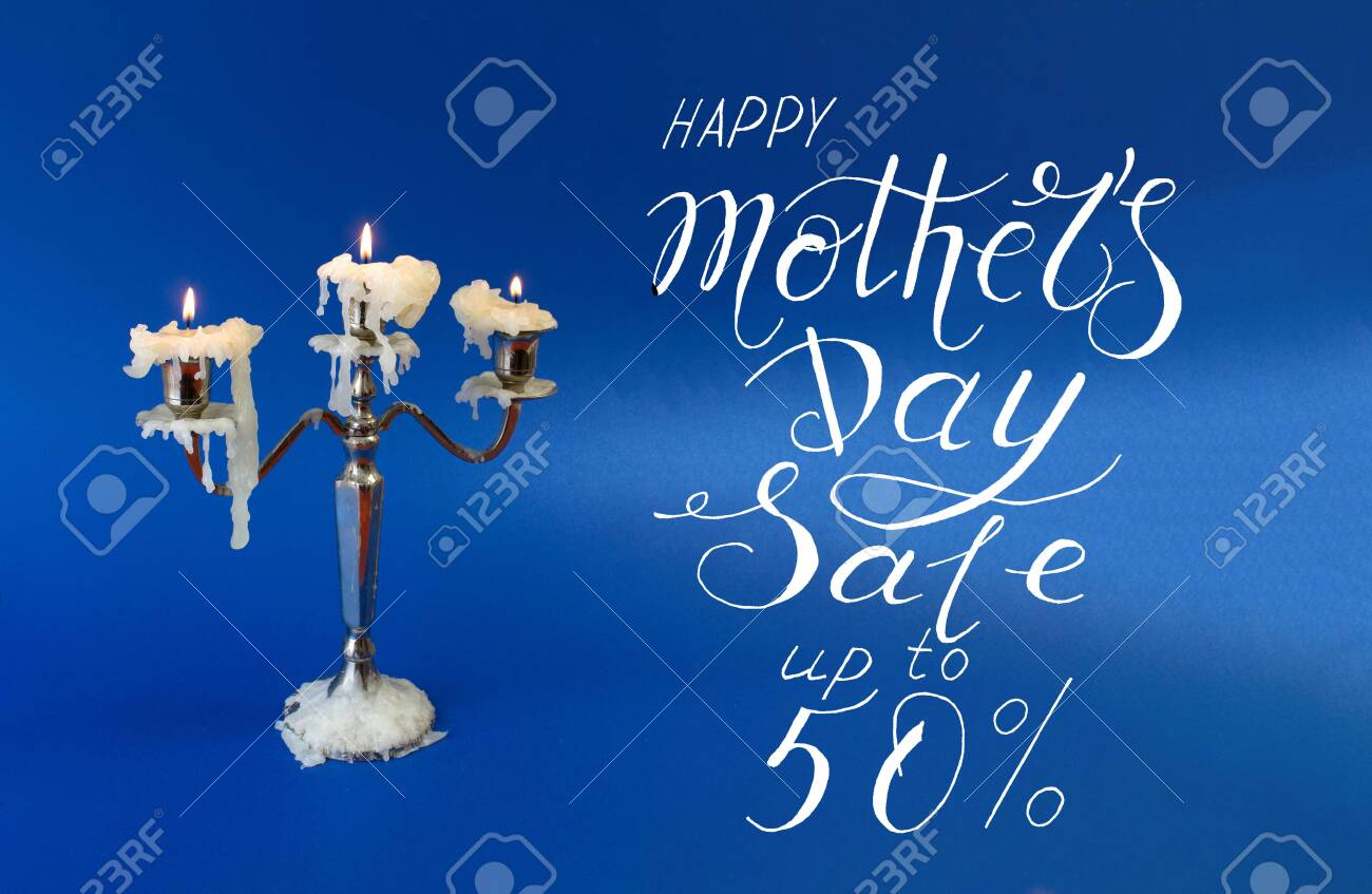 Card, banner, pattern for a discount of 50 percent for mother day - 145342428