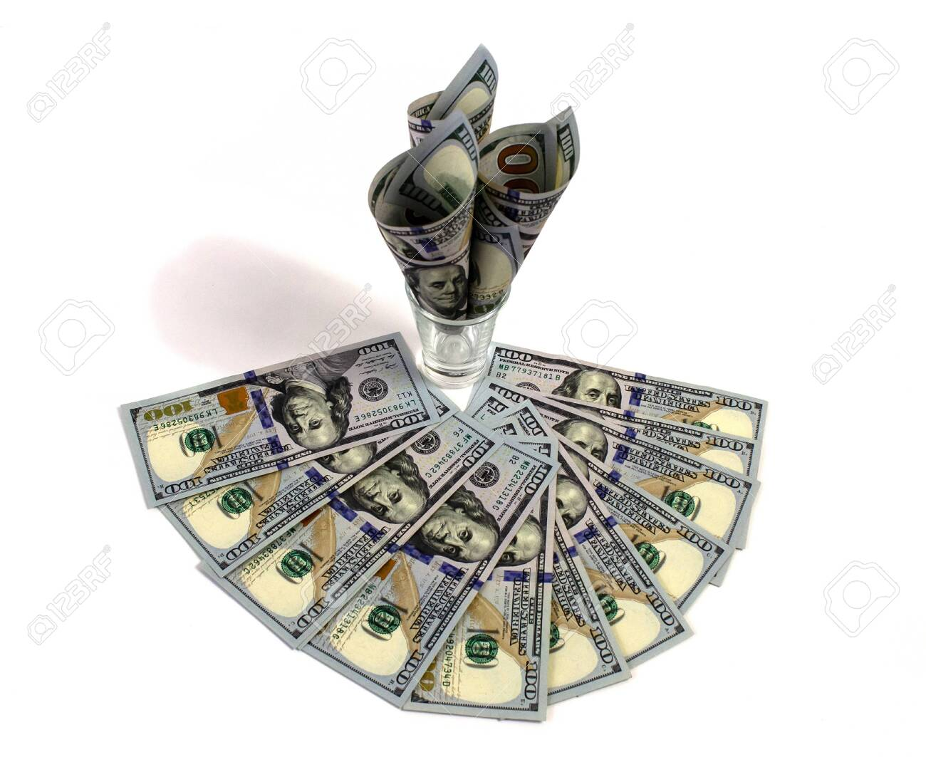 isolated on white background Dollars in a glass, a symbol of the crisis, venality, wealth - 150088060