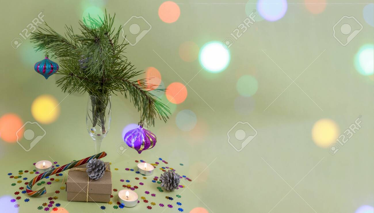 Merry Christmas and happy new year. Card, banner, Flat Lay, flyer, greeting card with place for text. bokeh effect - 158184213