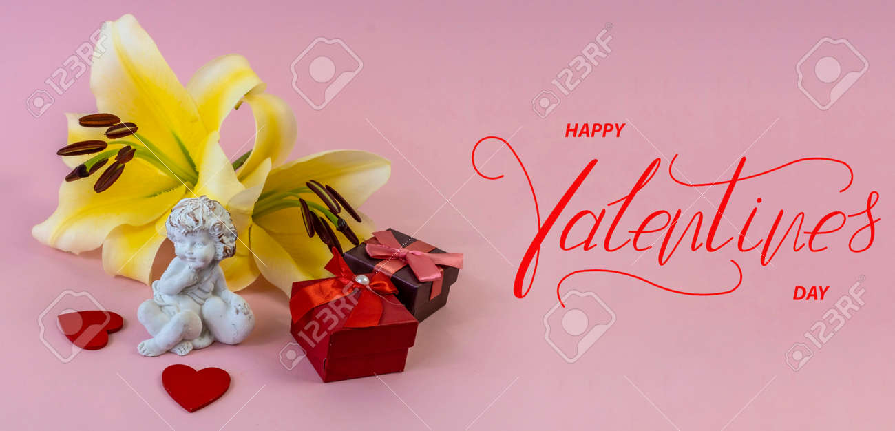 Happy Valentine's day! Card, online banner, greeting card, Flat lay on Valentine's Day, on a pink background - 159041930