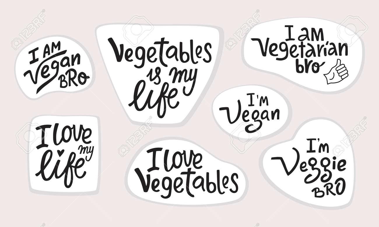 Vegetable lettering quotes set stickers. I am vegan, veggie, vegetarian bro. - 167576145