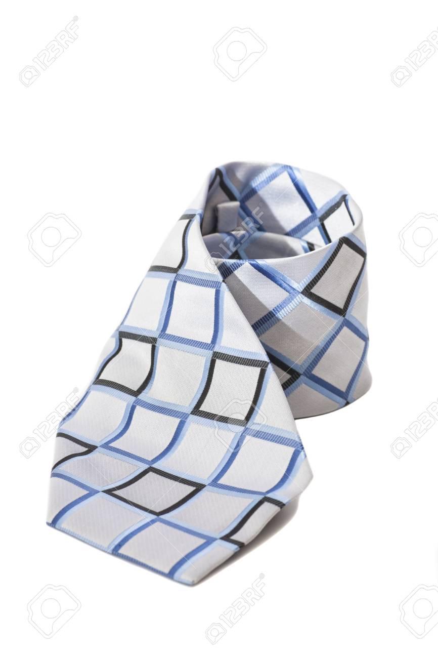 checkered necktie on white background - 29681049