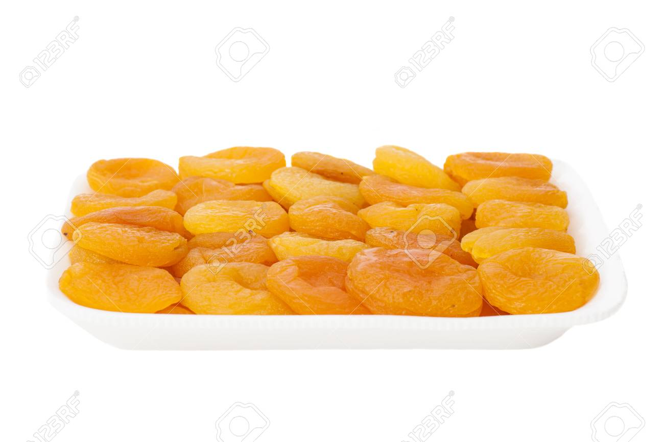 Dried apricots in shopping package, isolated - 30007494