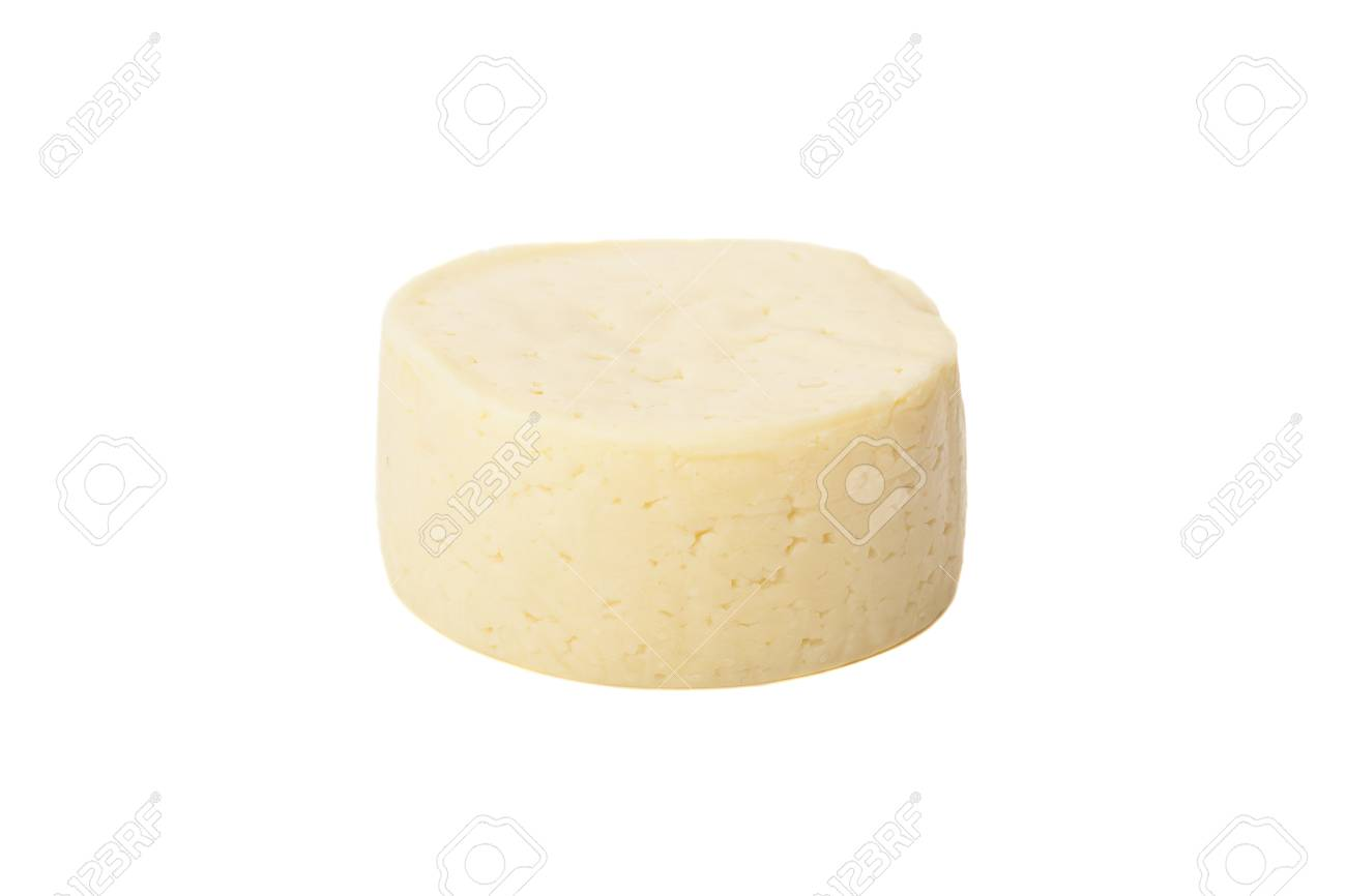 Wheel of traditional cheese isolated on white - 30007495