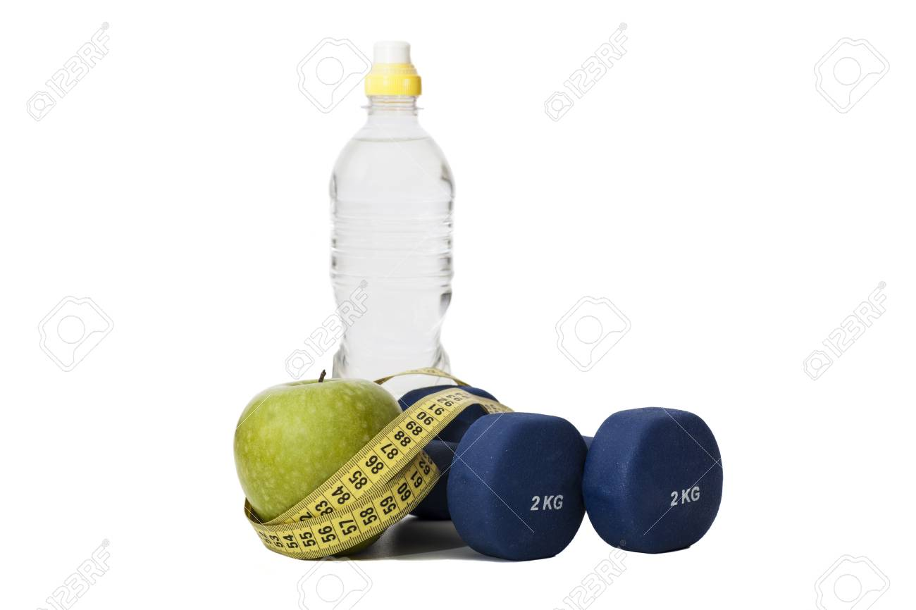 dieting food and fitness equipment - 29989298