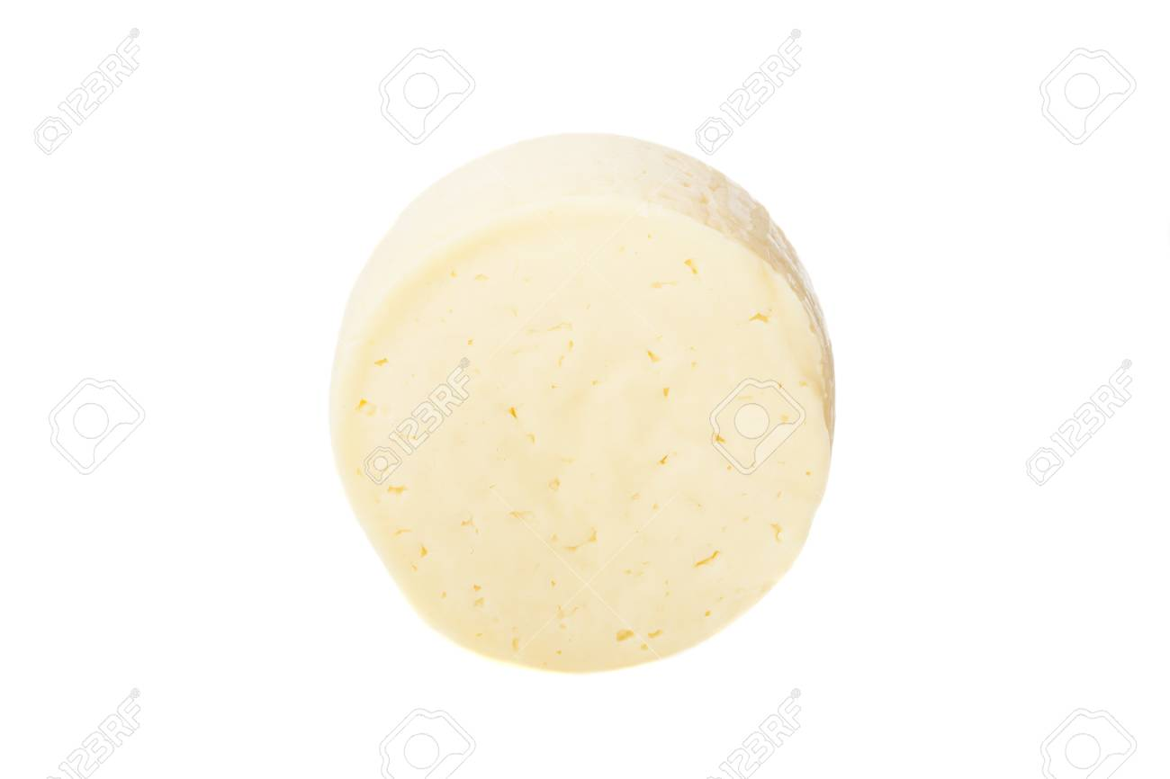 Wheel of traditional cheese isolated on white - 30182301