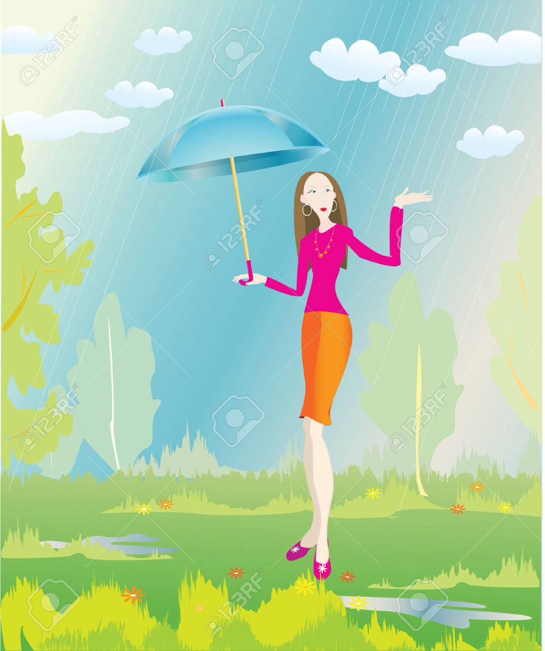 stylish girl and summer rain Stock Vector - 4588038